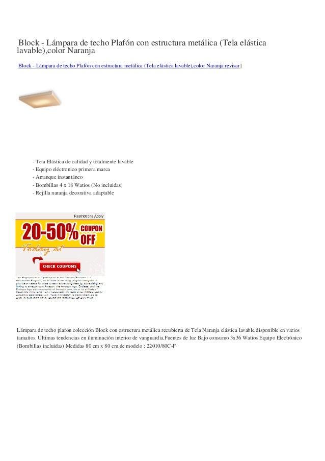 Block - Lámpara de techo Plafón con estructura metálica (Tela elásticalavable),color NaranjaBlock - Lámpara de techo Plafó...