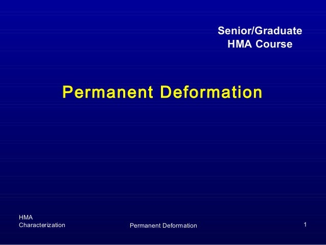 HMACharacterization Permanent Deformation 1Permanent DeformationSenior/GraduateHMA Course