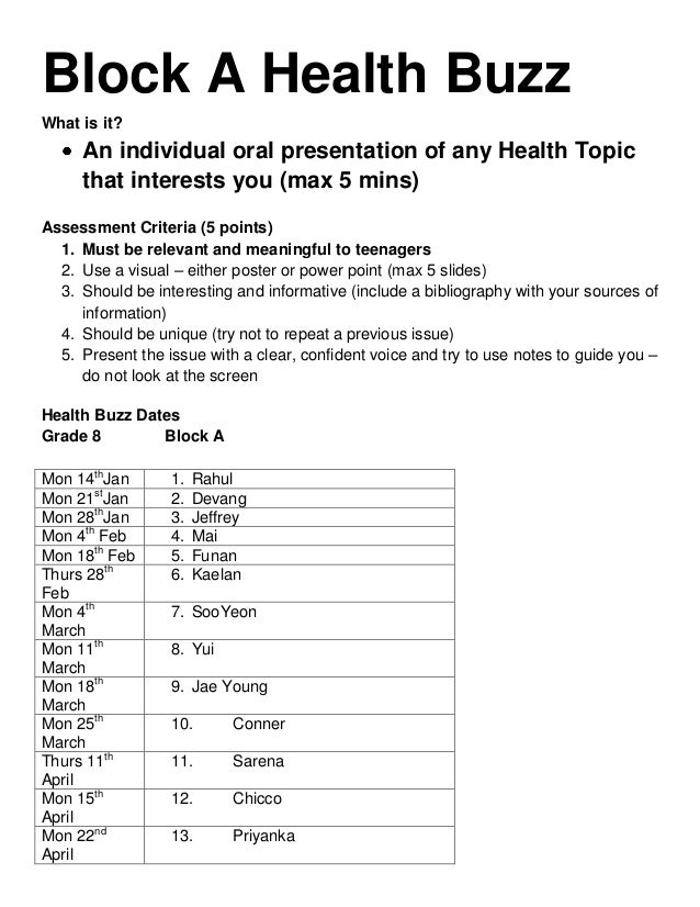 Block A Health BuzzWhat is it?     An individual oral presentation of any Health Topic     that interests you (max 5 mins)...