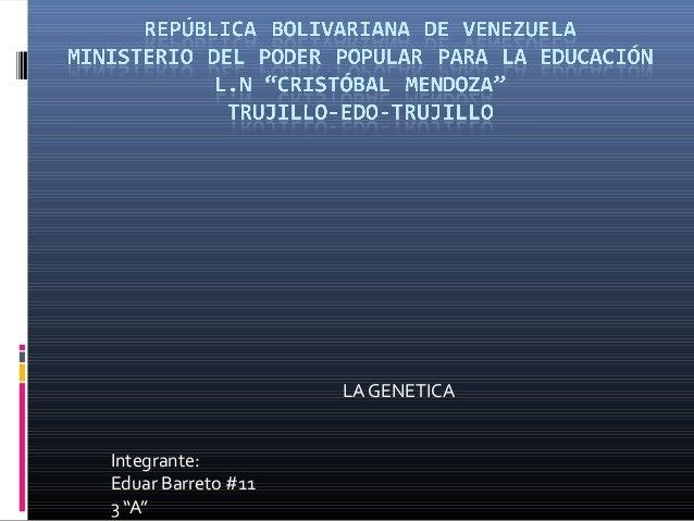 "LA GENETICA Integrante: Eduar Barreto #11 3 ""A"""