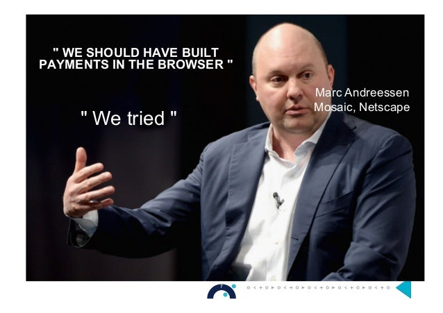 """"""" WE SHOULD HAVE BUILT PAYMENTS IN THE BROWSER """" Marc Andreessen Mosaic, Netscape """" We tried """" 7 6"""