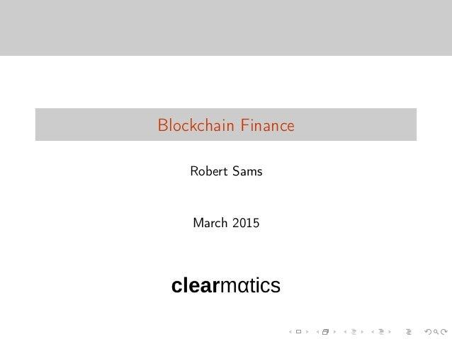 Blockchain Finance Robert Sams March 2015