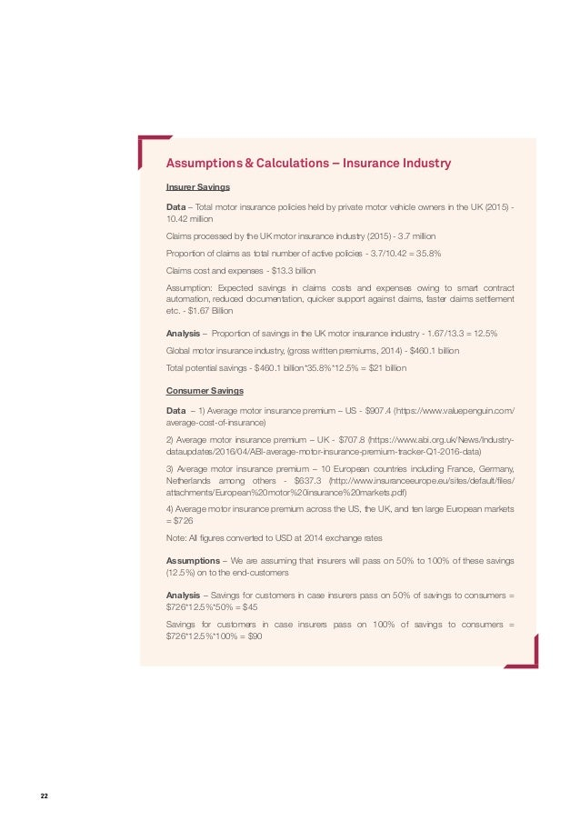22 Assumptions & Calculations – Insurance Industry Insurer Savings Data – Total motor insurance policies held by private m...