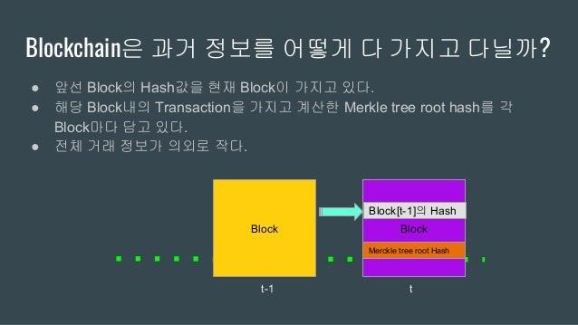 Merkle tree ● 모든 Block에 대한 Hash를 '요약'해주는 Binary tree 구조 ● 모든 Block은 Merkle tree의 root에 해당하는 Hash를 가지고 다닌다. ● 모든 Block안의 Ha...