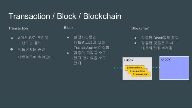 Blockchain - Bitcoin에 구현된 예 Genesis block: 처음 만들어진 Block ● 각 Block은 아래 정보로 구성되어 있다. ○ 앞선 Block의 hash ■ Genesis block에서부터 현...