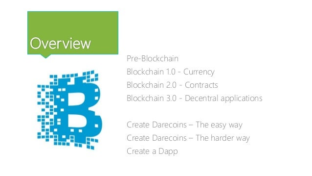 Overview Pre-Blockchain Blockchain 1.0 - Currency Blockchain 2.0 - Contracts Blockchain 3.0 - Decentral applications Creat...