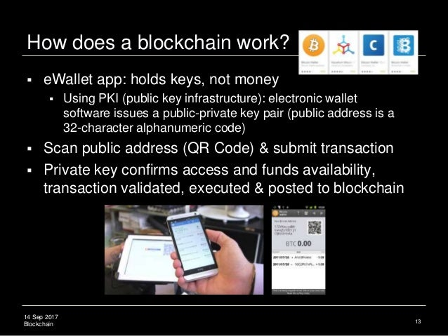 14 Sep 2017 Blockchain How does a blockchain work? 13  eWallet app: holds keys, not money  Using PKI (public key infrast...