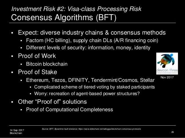 14 Sep 2017 Blockchain Investment Risk #2: Visa-class Processing Risk Consensus Algorithms (BFT)  Expect: diverse industr...