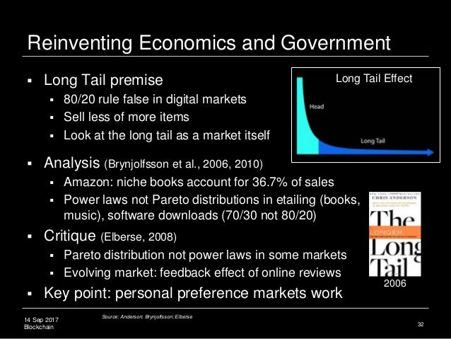14 Sep 2017 Blockchain Reinventing Economics and Government 32  Long Tail premise  80/20 rule false in digital markets ...