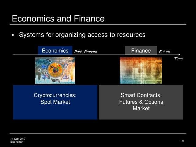 14 Sep 2017 Blockchain Economics and Finance 36 Cryptocurrencies: Spot Market Smart Contracts: Futures & Options Market  ...