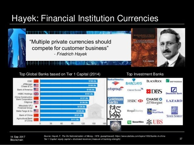 """14 Sep 2017 Blockchain Hayek: Financial Institution Currencies 37 """"Multiple private currencies should compete for customer..."""