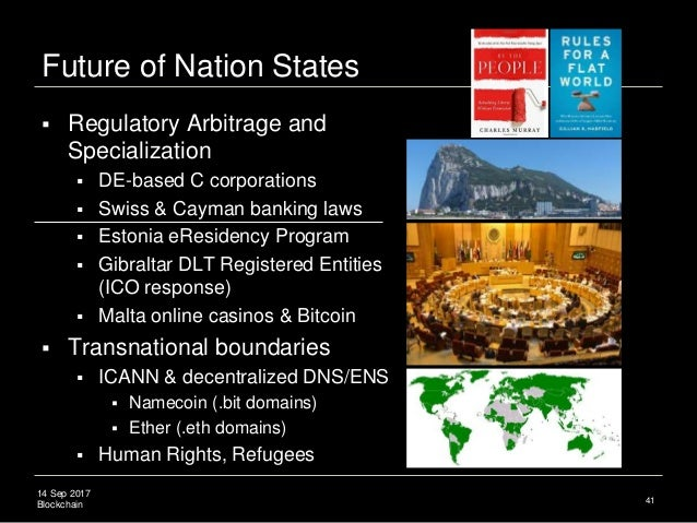 14 Sep 2017 Blockchain Future of Nation States  Regulatory Arbitrage and Specialization  DE-based C corporations  Swiss...