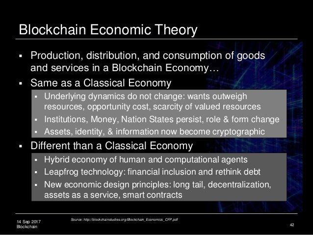 14 Sep 2017 Blockchain Blockchain Economic Theory  Production, distribution, and consumption of goods and services in a B...