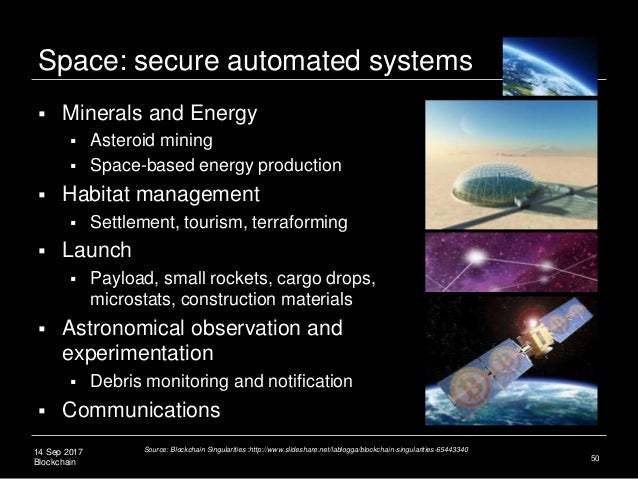 14 Sep 2017 Blockchain Space: secure automated systems 50  Minerals and Energy  Asteroid mining  Space-based energy pro...