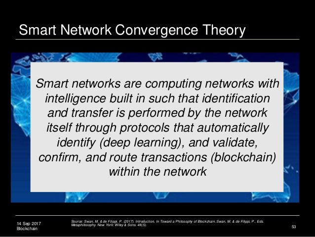 14 Sep 2017 Blockchain 53 Smart networks are computing networks with intelligence built in such that identification and tr...