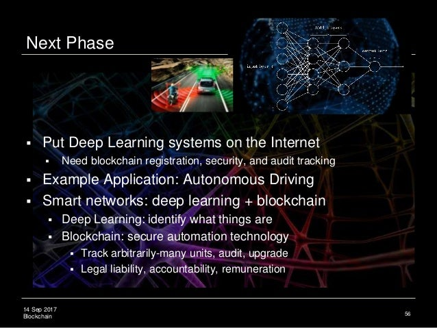 14 Sep 2017 Blockchain Next Phase  Put Deep Learning systems on the Internet  Need blockchain registration, security, an...