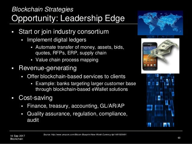 14 Sep 2017 Blockchain Blockchain Strategies Opportunity: Leadership Edge  Start or join industry consortium  Implement ...