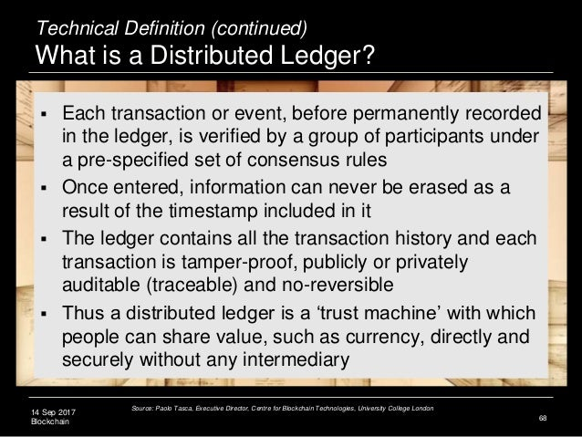 14 Sep 2017 Blockchain 68  Each transaction or event, before permanently recorded in the ledger, is verified by a group o...