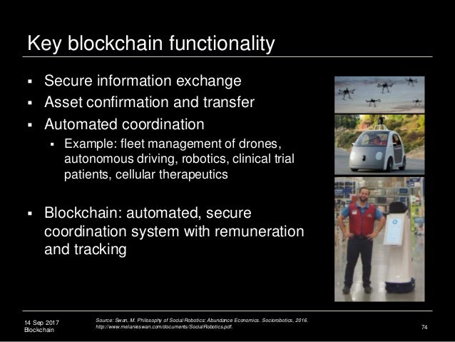 14 Sep 2017 Blockchain 74  Secure information exchange  Asset confirmation and transfer  Automated coordination  Examp...