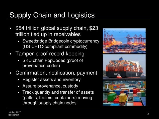 14 Sep 2017 Blockchain Supply Chain and Logistics  $54 trillion global supply chain, $23 trillion tied up in receivables ...