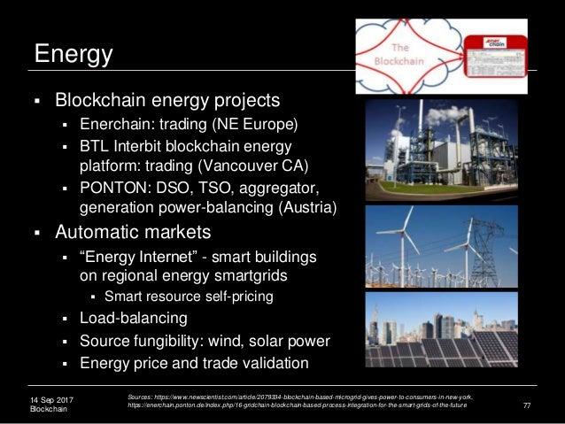 14 Sep 2017 Blockchain Energy  Blockchain energy projects  Enerchain: trading (NE Europe)  BTL Interbit blockchain ener...
