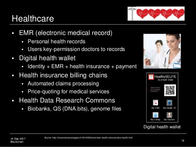 14 Sep 2017 Blockchain  EMR (electronic medical record)  Personal health records  Users key-permission doctors to recor...