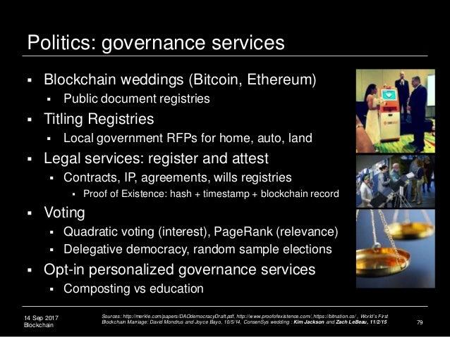 14 Sep 2017 Blockchain Politics: governance services 79  Blockchain weddings (Bitcoin, Ethereum)  Public document regist...
