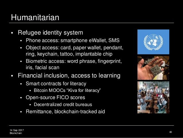 14 Sep 2017 Blockchain Humanitarian  Refugee identity system  Phone access: smartphone eWallet, SMS  Object access: car...