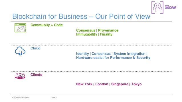 6Page© 2016 IBM Corporation Blockchain for Business – Our Point of View Community + Code Linux Hyperledger Project Open So...