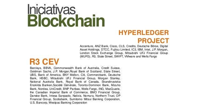 HYPERLEDGER PROJECT R3 CEV Accenture, ANZ Bank, Cisco, CLS, Credits, Deutsche Börse, Digital Asset Holdings, DTCC, Fujitsu...