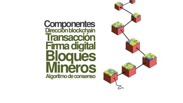 Direcciónblockchain Componentes Transacción Firmadigital Bloques MinerosAlgoritmodeconsenso