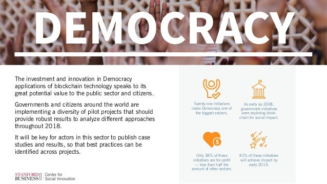 DEMOCRACY The investment and innovation in Democracy applications of blockchain technology speaks to its great potential v...