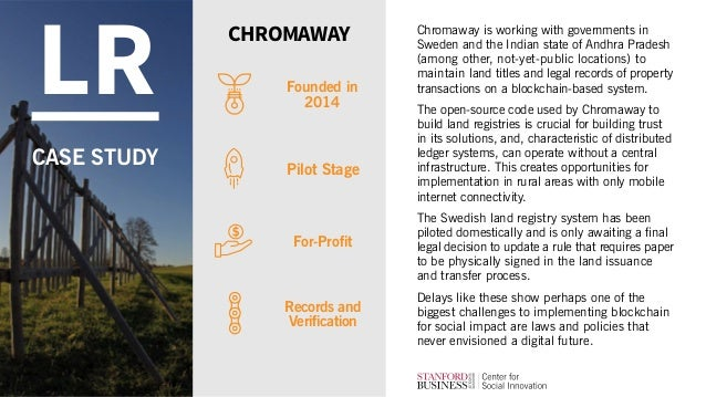 Chromaway is working with governments in Sweden and the Indian state of Andhra Pradesh (among other, not-yet-public locati...