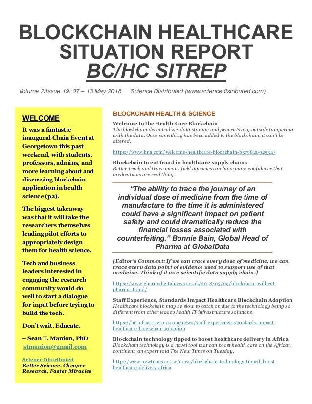 Blockchain Healthcare Situation Report (BC/HC SITREP) Volume