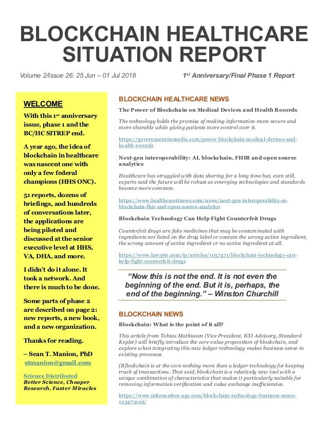 Blockchain Healthcare Situation Report (BC/HC SITREP) Volume 2 Issue …