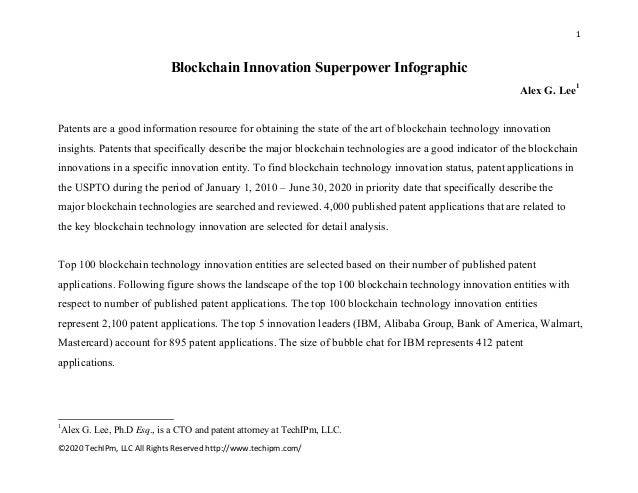 1    ©2020 TechIPm, LLC All Rights Reserved http://www.techipm.com/    Blockchain Innovation Superpower Infographic Alex G...