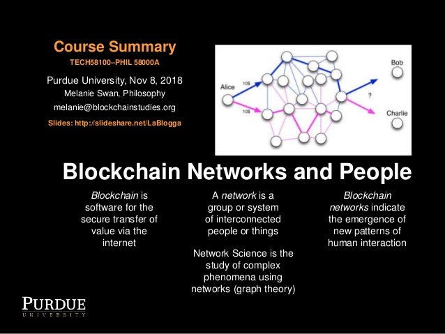 Blockchain Networks and People Blockchain is software for the secure transfer of value via the internet A network is a gro...