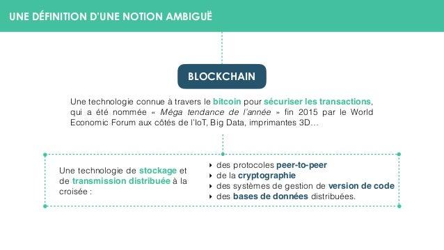 UNE DÉFINITION D'UNE NOTION AMBIGUË Une technologie connue à travers le bitcoin pour sécuriser les transactions, qui a été...