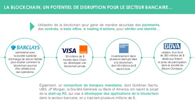 LA BLOCKCHAIN, UN POTENTIEL DE DISRUPTION POUR LE SECTEUR BANCAIRE… Utilisation de la blockchain pour gérer de manière séc...
