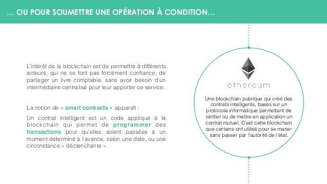… OU POUR SOUMETTRE UNE OPÉRATION À CONDITION… L'intérêt de la blockchain est de permettre à différents acteurs, qui ne se...