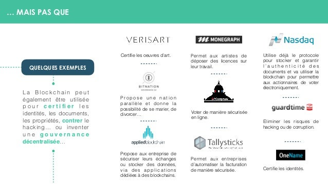 … MAIS PAS QUE La Blockchain peut également être utilisée p o u r c e r t i fi e r l e s identités, les documents, les prop...