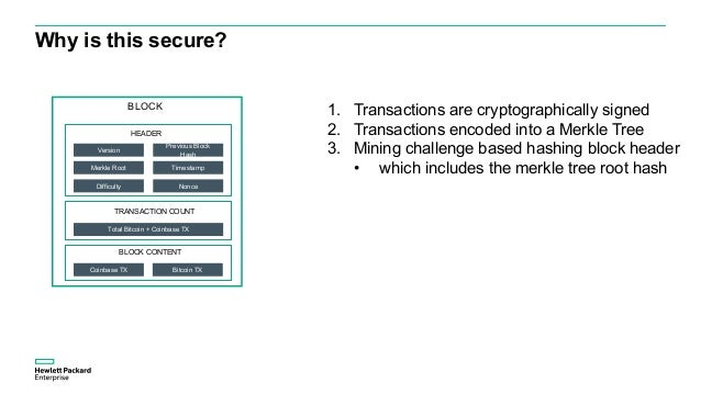 Why is this secure? 1. Transactions are cryptographically signed 2. Transactions encoded into a Merkle Tree 3. Mining chal...