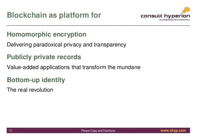 www.chyp.comPlease Copy and Distribute Blockchain as platform for Homomorphic encryption Delivering paradoxical privacy an...