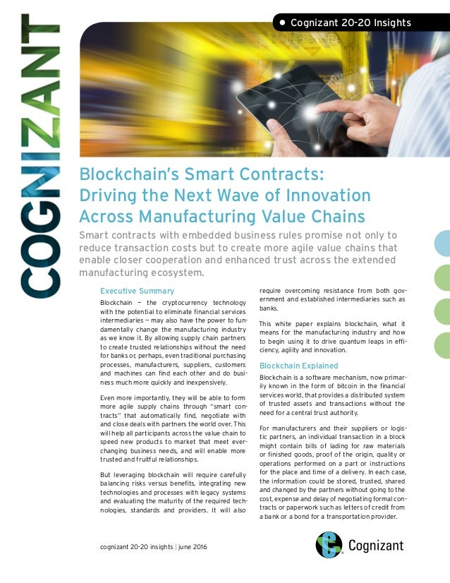 Blockchain's Smart Contracts: Driving the Next Wave of Innovation Acr…