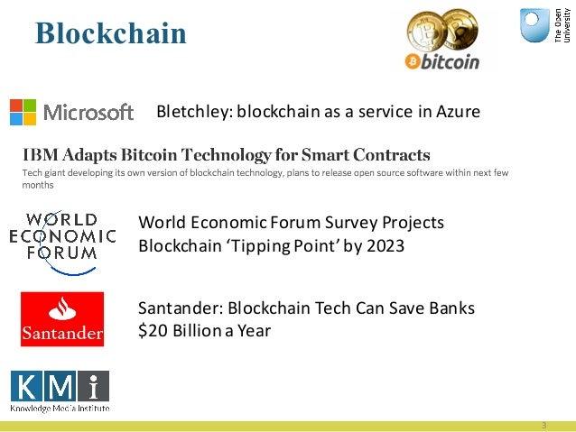 Blockchain 3 WorldEconomicForumSurveyProjects Blockchain'TippingPoint'by2023 Santander:Blockchain TechCanSave...