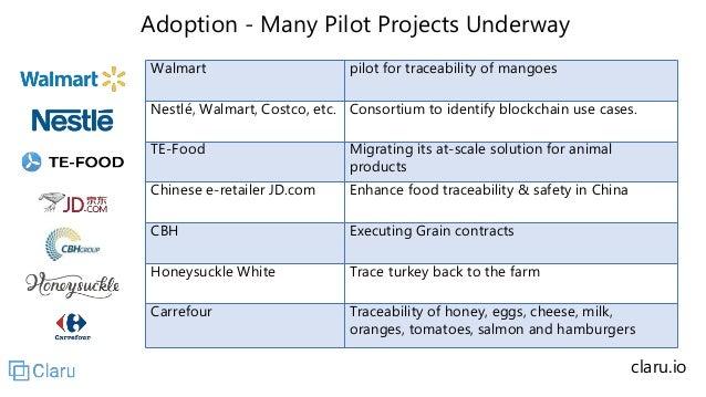 Adoption - Many Pilot Projects Underway Walmart pilot for traceability of mangoes Nestlé, Walmart, Costco, etc. Consortium...