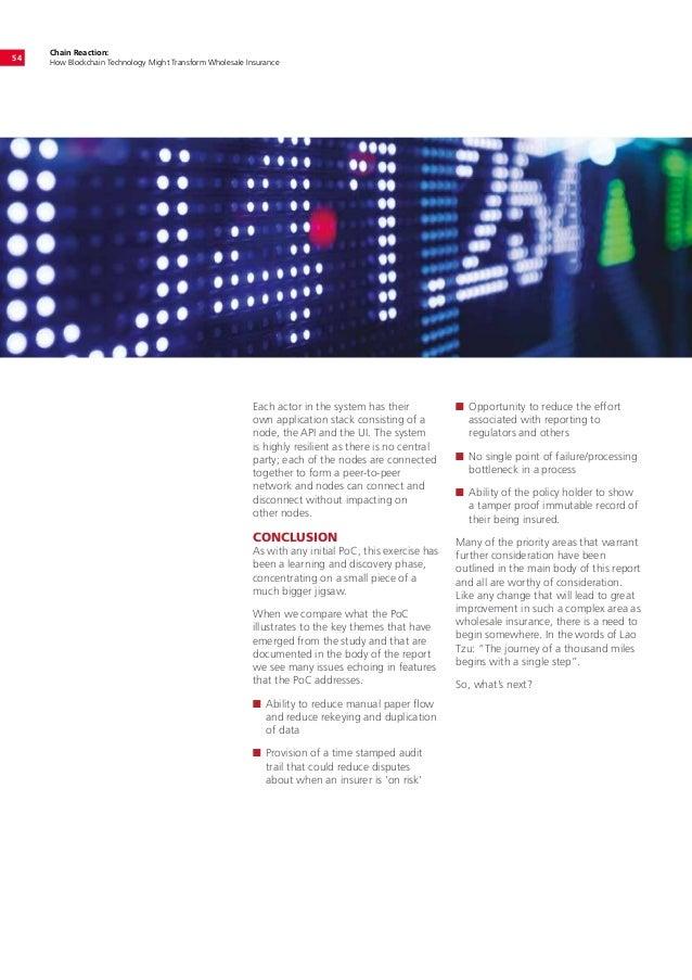 Chain Reaction: How Blockchain Technology Might Transform Wholesale Insurance