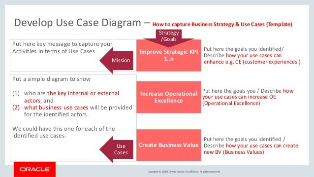 Copyright © 2018, Oracle and/or its affiliates. All rights reserved. | Use-Case <XYZ> Value Model Key process 1 Key proces...