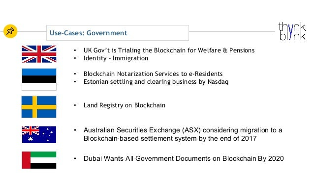 Use-Cases: Government • Blockchain Notarization Services to e-Residents • Estonian settling and clearing business by Nasda...