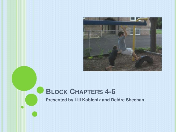 Block Chapters 4-6<br />Presented by LiliKoblentz and Deidre Sheehan<br />